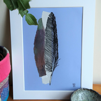 Feather Original Pen Drawing with Silver Paper Collage