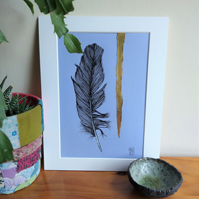 Feather Original Pen Drawing with Collage
