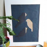 Three Small Birds Paper Screen Print with Collage
