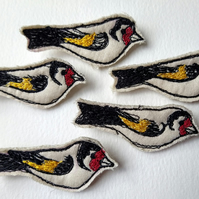 Embroidered Goldfinch Brooch