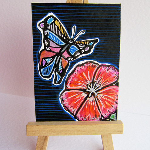 *PIF* ACEO Butterfly and flower