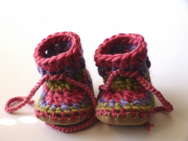 Wool & leather baby boots pink purple green 3-6 months