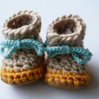 Wool & leather baby boots Biscuit Tangerine 3-6 months