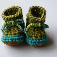 Wool & leather baby boots Lime Turquoise 3-6 months