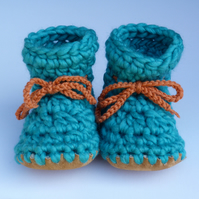 Wool & leather baby boots Turquoise 3-6 months