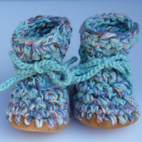 Wool & leather baby boots duck egg blue mix 12-18 months