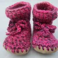 Wool & leather baby boots cherry plum pie 6-12 months