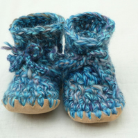 Wool & leather crochet baby boots blue turquoise mix 12-18 months