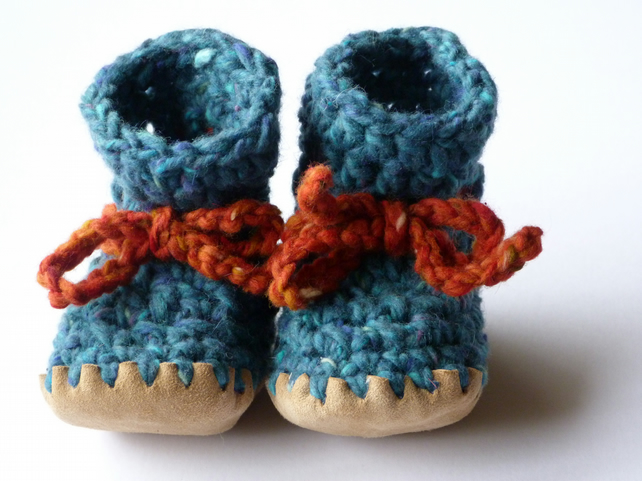 Wool, angora & leather baby boots, teal 6-12 months
