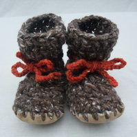 Wool, angora & leather baby boots, brown 6-12 months