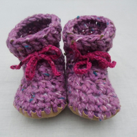 Baby boots - Wool, angora & leather - lavender - 12-18 months
