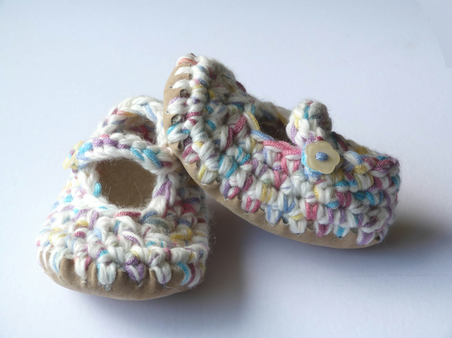 Baby shoes- Wool & leather - Mary Jane Shoes