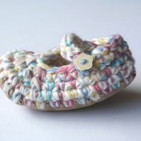 Baby shoes- Wool & leather - Mary Jane Shoes - 3-6 months