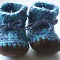 Wool & leather baby boots - Blue turquoise - 3-6 months