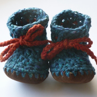 Wool, Angora & leather baby boots - Teal - 12-18 months RESERVED