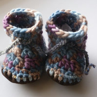 Wool & leather baby boots - Blue brown - 6-12 months
