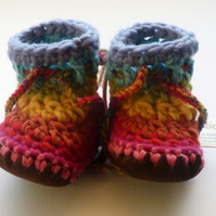 Wool & leather baby boots - Rainbow stripe - 12-18 months