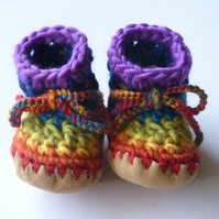 Wool & leather baby boots - Rainbow stripe, red purple - 6-12 months