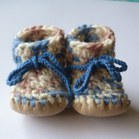 Wool & leather baby boots - Blue camo - 3-6 months