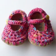 Baby shoes- Wool & leather - Mary Jane Shoes - Pink- 6-12 months