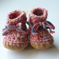 Wool & leather baby boots - soft pink mix - 3-6 months