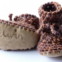 Custom baby boots - Brown- sizes 1-4