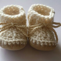 Custom baby boots - off white - sizes 1-3 - Christening