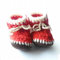 Wool & leather baby boots - Red and white- 6-12 months