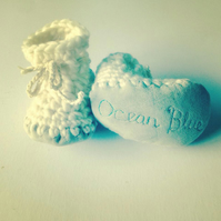 Personalised baby boots - off white - sizes 1-3 - Christening - Naming ceremony