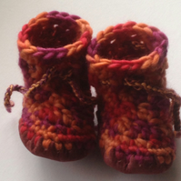 Wool & leather baby boots - Orange Red Burgundy - 6-12 months