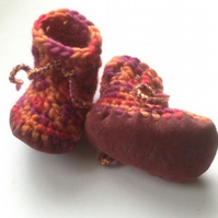 Wool & leather baby boots - rust orange mix - 3-6 months