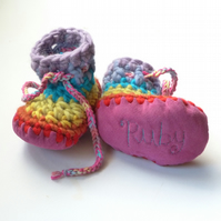 Personalised baby boots - Pink Rainbow- sizes 0-4