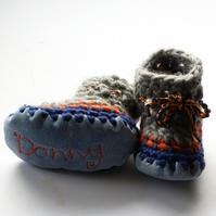 Personalised baby boots -Grey navy orange- sizes 1-3