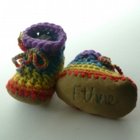 Personalised baby boots - Rainbow- sizes 1-3