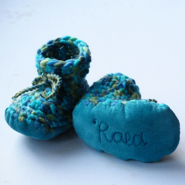 Personalised baby boots -Turquoise Mix- sizes 1-4