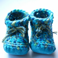 Crochet Baby boots  - Turquoise Mix- Newborn Baby gift - 3-6 months