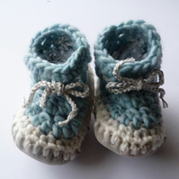Wool & leather baby boots - Ice blue - 3-6 months