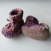 Wool & leather baby boots - Lilac Rose- 12-18 months