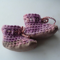 Wool & leather baby boots - Lilac Rose- 3-6 months