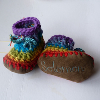 Personalised baby boots - Rainbow- sizes 0-4