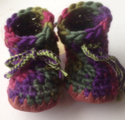 Wool & leather baby boots - purple green pink - 3-6 months