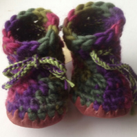 Wool & leather baby boots - purple green pink - 6-12 months