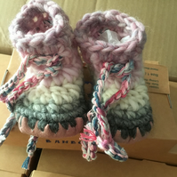 Personallised crochet baby boots -pink & grey - size 1-3