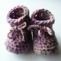 Wool & leather baby boots - Lilac Rose
