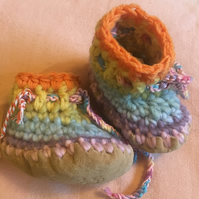 Wool & leather baby boots - Pastel Rainbow - 6-12 months