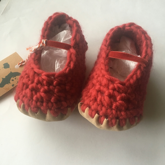 Baby shoes- Wool & leather -Mary Jane shoes red- 12-18 months