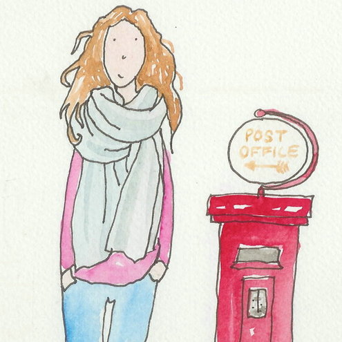 Girl and Post Box  Card /Illustration