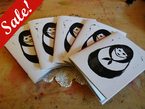 Sale - 50% off! - Russian Doll Lino Notebooks