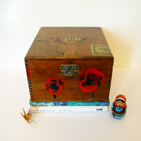 Free Postage - Hand Painted Vintage Cigar Box - Red Poppies