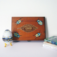 Free Postage - Hand Painted Vintage Cigar Box - Blue Beetles